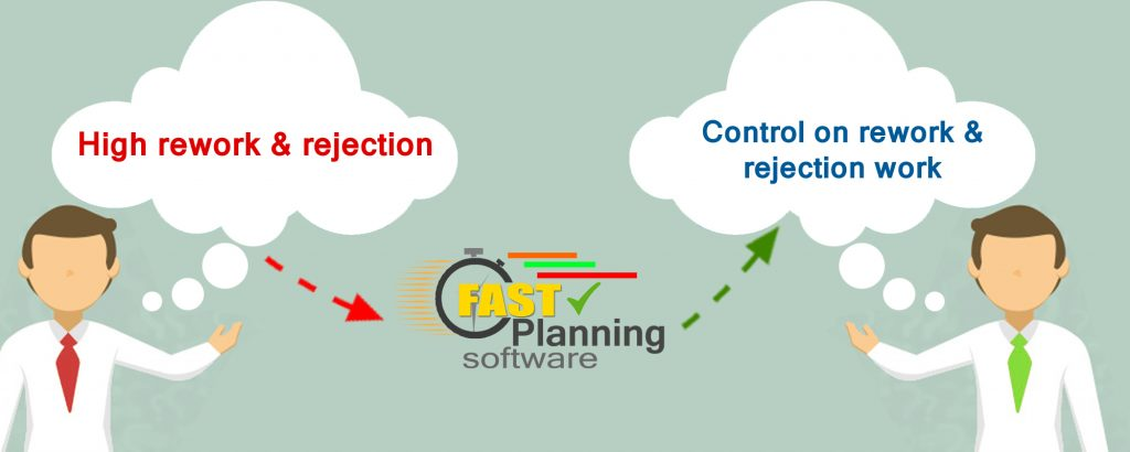 Control on rework & rejection work