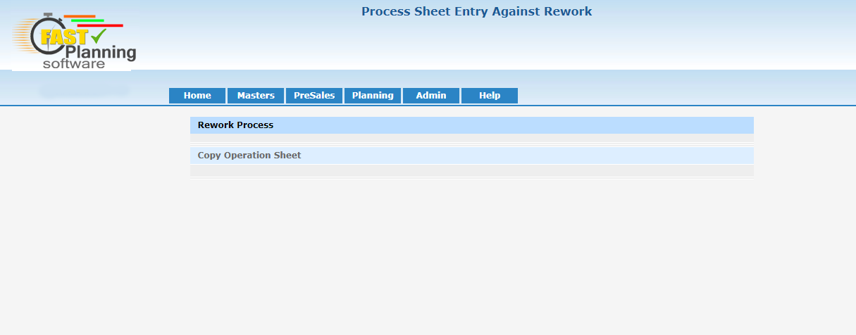 Process Sheet Entry Against Rework