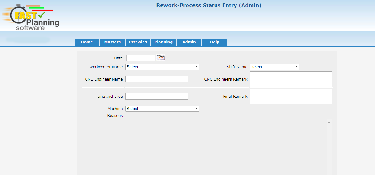 Rework Process Status Entry