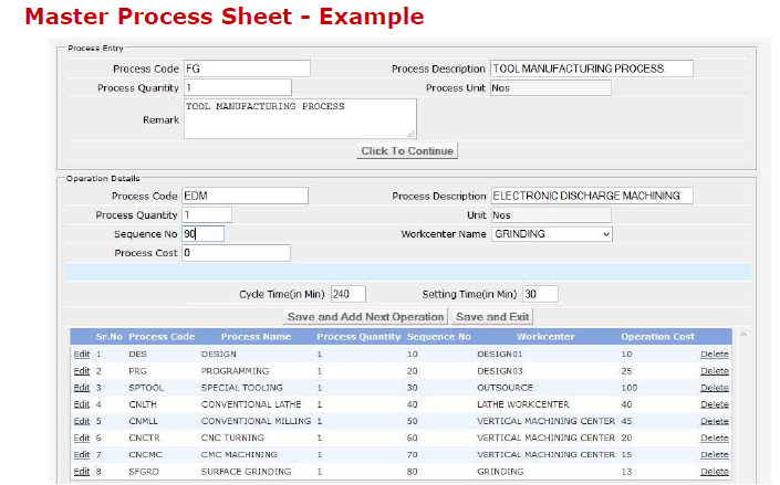 Master Process Sheet Report in Advanced Scheduling Software