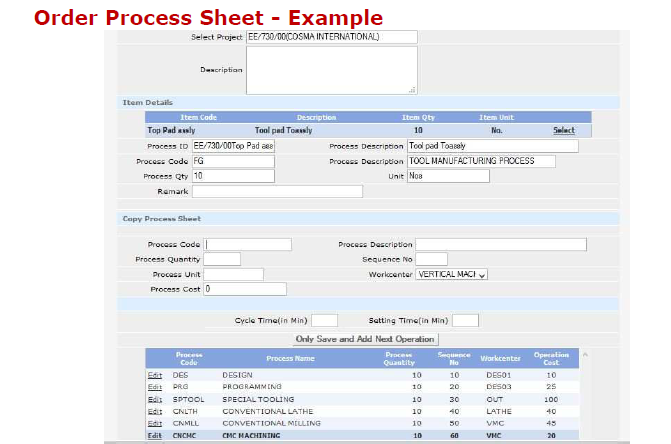 Order Process Sheet Report in Advanced Scheduling Software