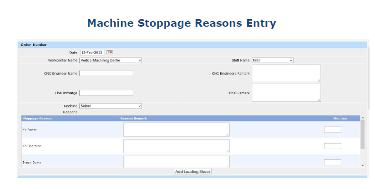 Machine Stoppage Reasons Entry
